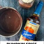 mug with pumpkin spice hot chocolate and text