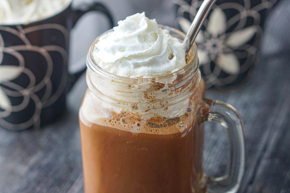 close up of pumpkin spice chocolate drink