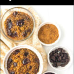 white ramekin with chocolate cherry baked quinoa breakfast with text