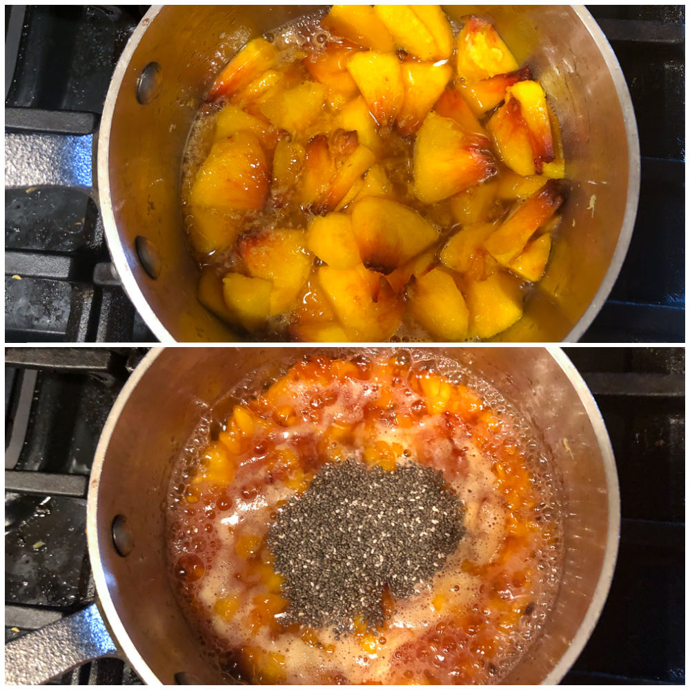 pan of peaches boiling on the stove