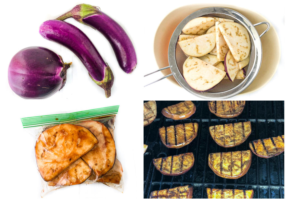 collage of how to make marinated grilled eggplant