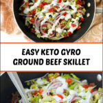 skillet with gyro hamburger dinner and text