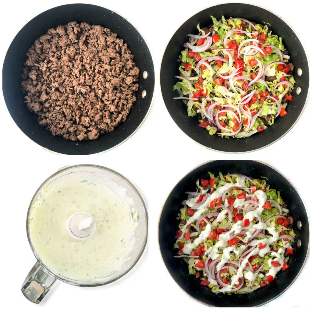collage of skillet pictures showing how to make the gyro hamburger skillet dinner