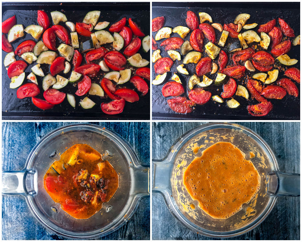 collage of pics showing how to roast the veggies and then blend into soup