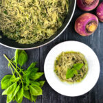 pan & dish with pesto turnip noodles and text