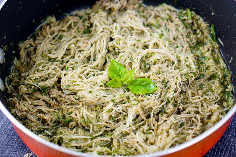 orange pan with pesto turnip pasta