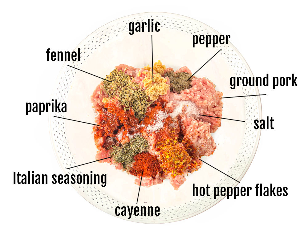 clear glass bowl with labeled ingredients to make homemade Italian sausage - spices and ground pork