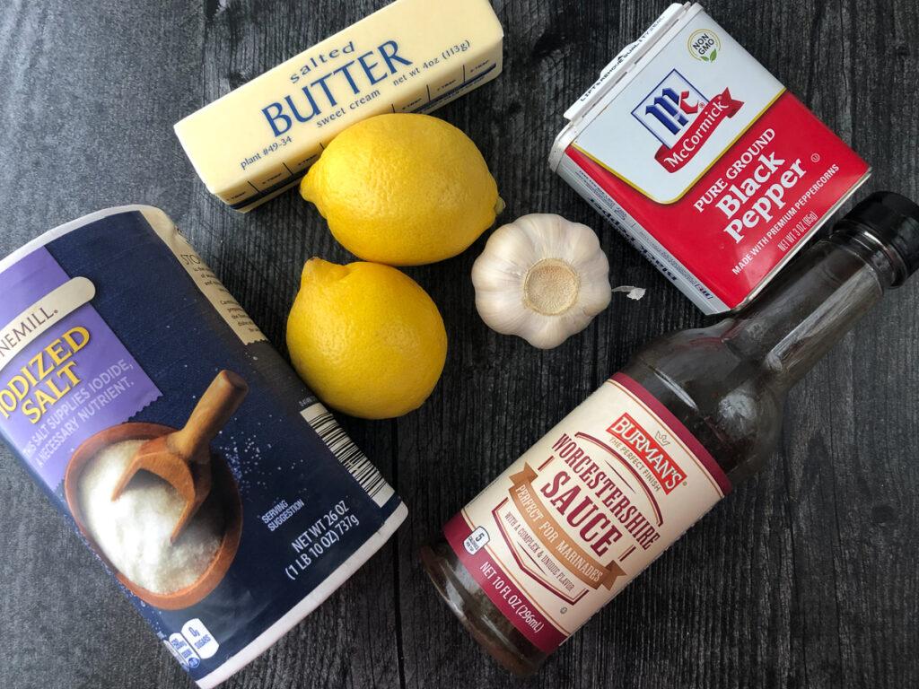 ingredients to make lemon pepper sauce - salt, pepper, lemons, butter, garlic and Worcestershire sauce