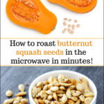 roasted butternut squash seeds and text