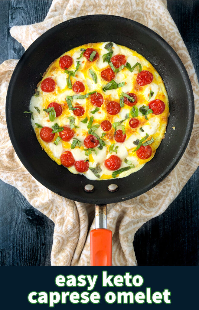 pan with keto caprese omelet