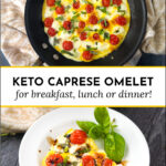 pan and white dish with keto caprese omelet