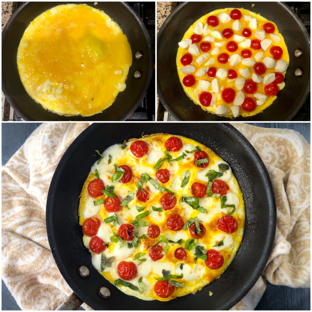 collage of pictures showing how to make the caprese omelet