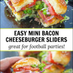 baking sheet and white plate with bacon cheeseburger slides and text
