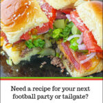 baking sheet with bacon cheeseburger slides and text