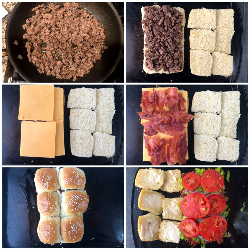 collage of how to make baked sliders with ground beef and burger toppings