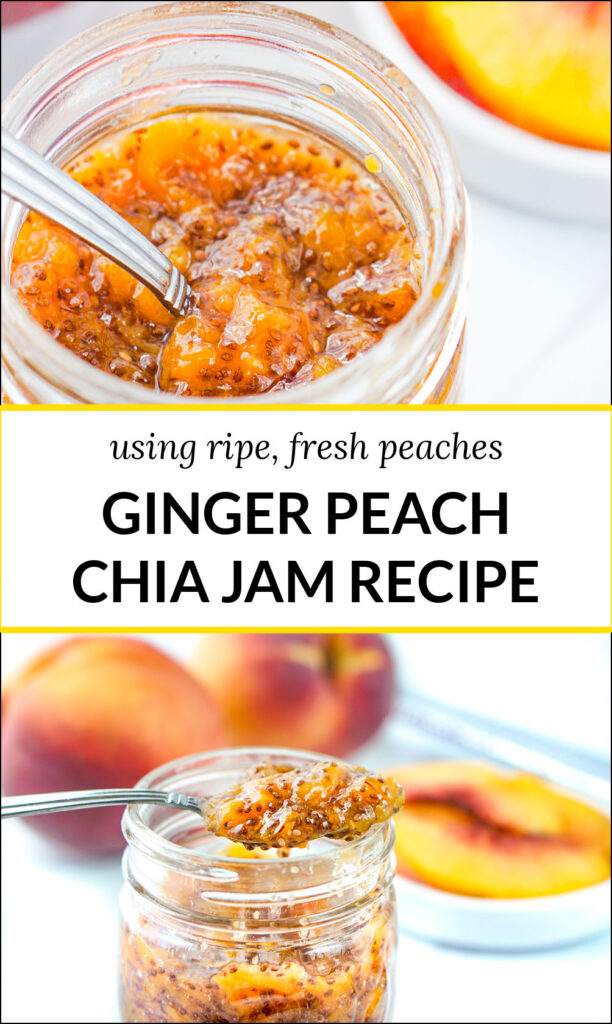 glass jar with ginger peach chia jam