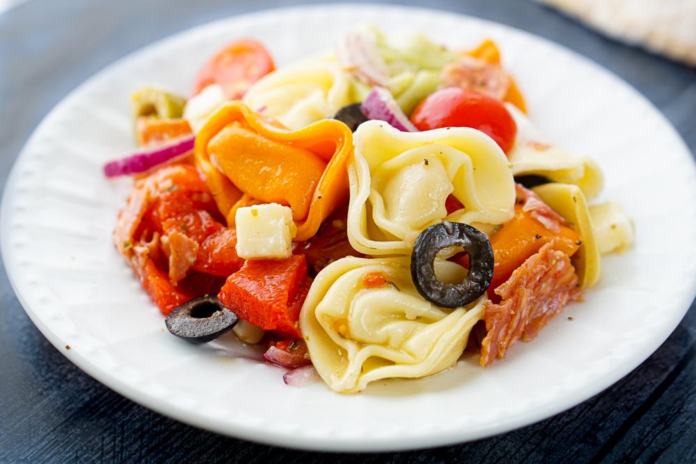 closeup of a serving of pasta salad