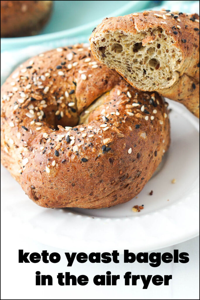 closeup of everything keto bagel made in the air fryer and text