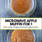 glass dishes with microwave minute muffin with text