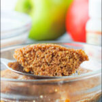 glass dishes with microwave minute muffin and apples with text