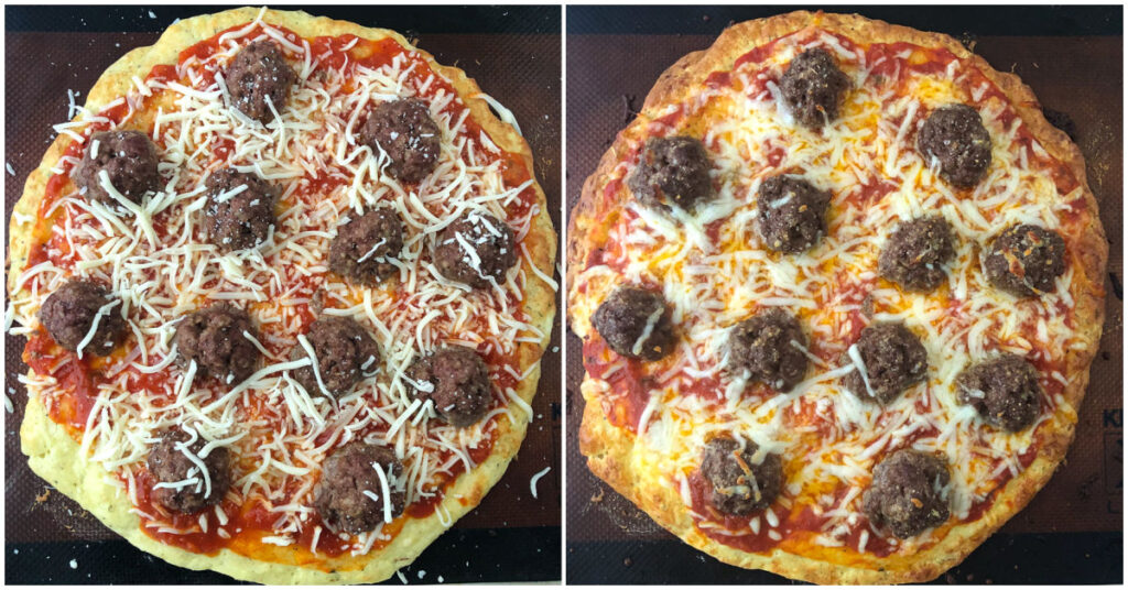 collage pictures showing the low carb meatball pizza before and after baking